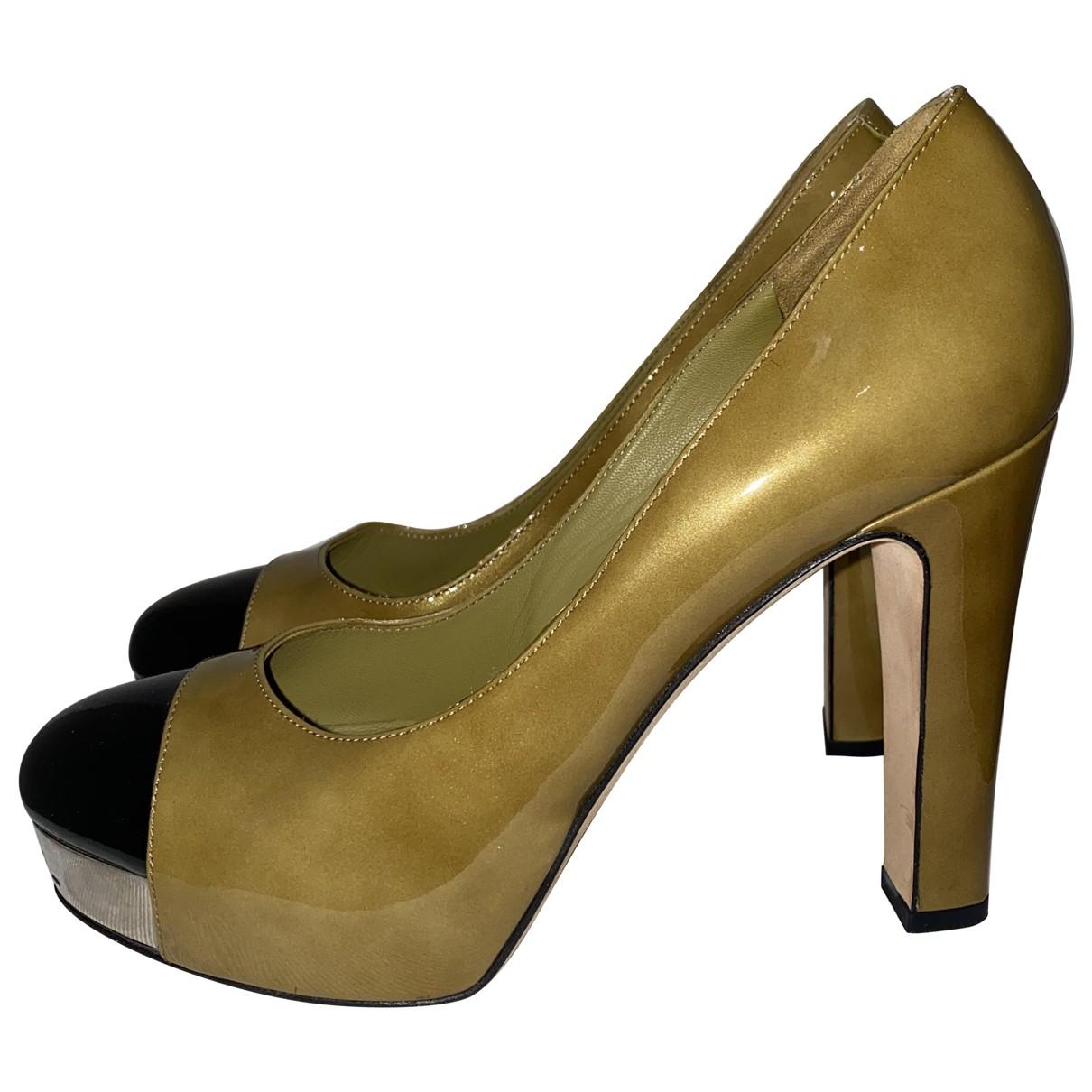 Chanel - Escarpins   pour femme en cuir verni - kaki