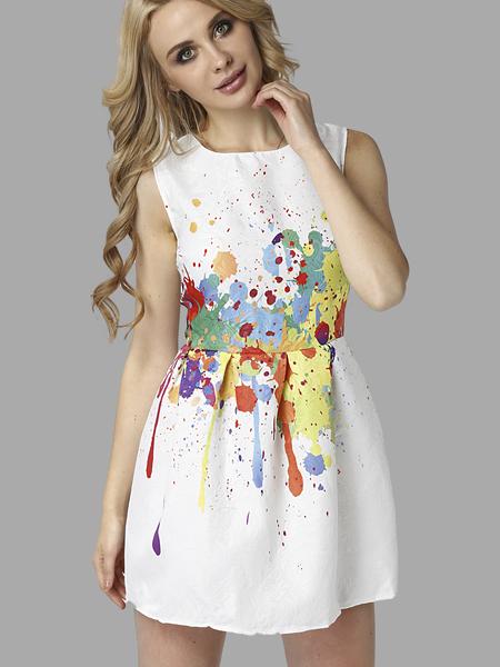 Yoins Sleevelss Tutu Mini Dress in Printing