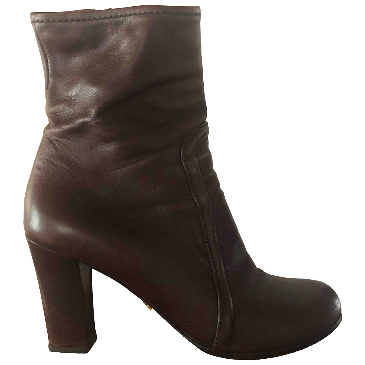 Prada \N Burgundy Leather Ankle boots for Women 37 EU