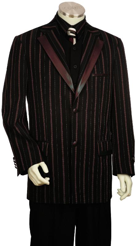 3 Piece Black Wine Fashion Unique Tuxedo Mens