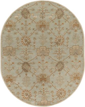 Caesar CAE-1170 6' x 9' Oval Traditional Rug in Taupe  Sage  Tan