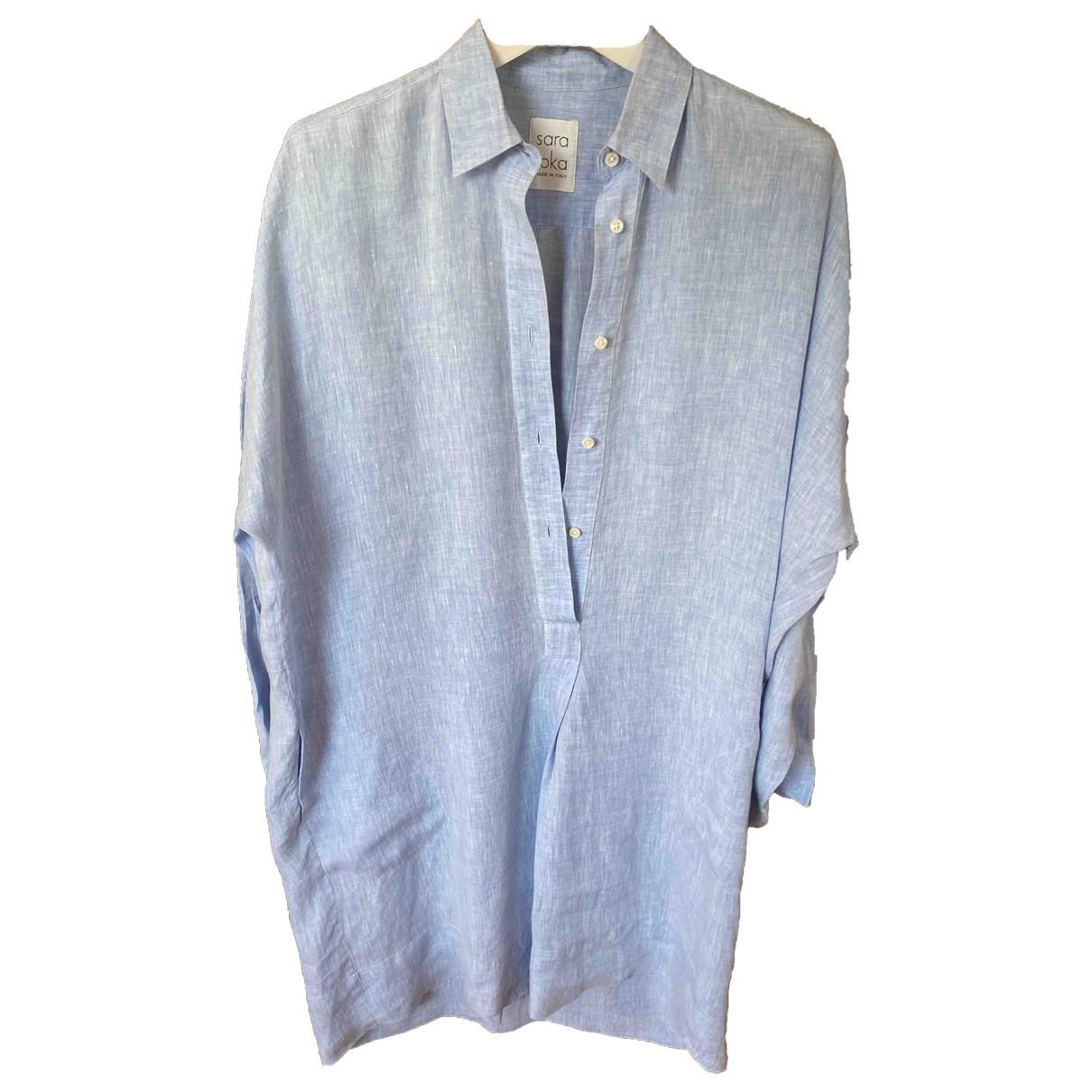 Sara Roka \N Kleid in  Blau Leinen