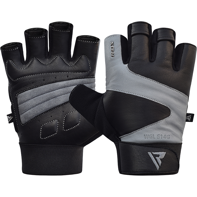 RDX S14 Gym Weightlifting Gloves Leather Large Grey/Black