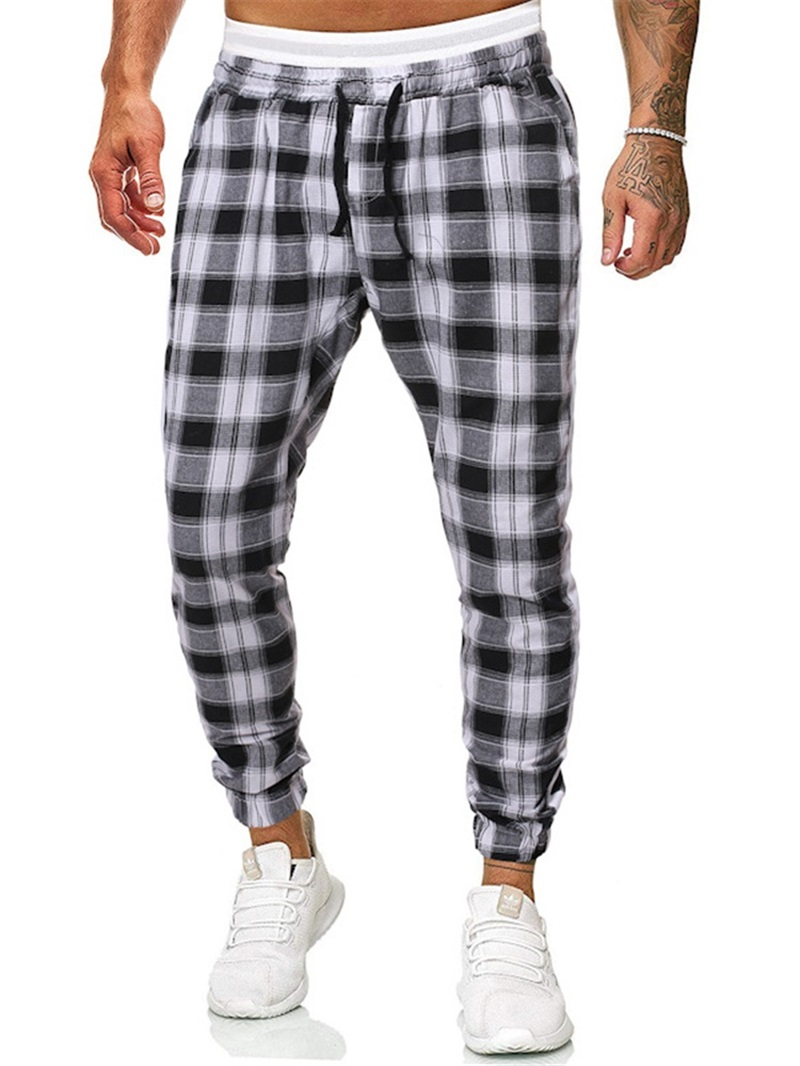 Ericdress Feather Plaid Casual Mid Waist Men's Casual Pants