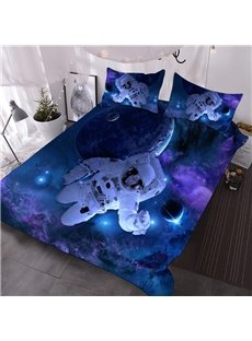 Astronauts in Outer Space 3D Comforter 3-Piece Polyester Comforter Sets with 2 Pillowcases