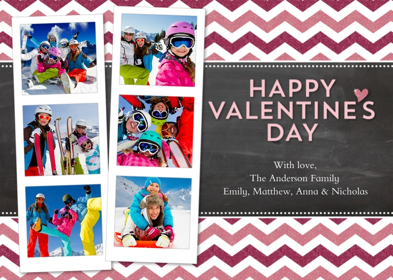 Valentines Cards 5x7 Folded Cards, Standard Cardstock 85lb, Card & Stationery -Valentines Day Photo Strips Chevron