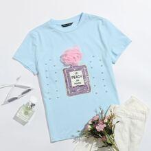 T-Shirt mit Blumen Applikation und Perlen Detail