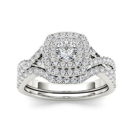 7/8 CT. T.W. Diamond 10K White Gold Bridal Ring Set, 8 1/2 , No Color Family