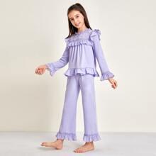 Girls Lace Yoke Bell Sleeve Ruffle Trim Top & Pants PJ Set
