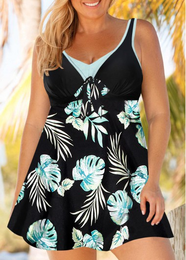 Women Plus Size Padded Swimdress Swimsuit  Black Printed Strappy Bowknot Detail Bathing Suit And Shorts By Rosewe - 0X