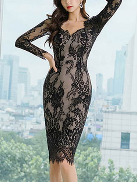 Milanoo Lace Dresses Black V Neck Long Sleeves Layered Cut Out Sexy Dresses