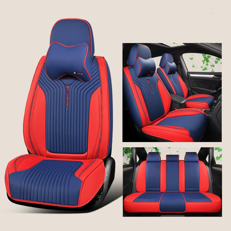 5-Seater Full Coverage Soft Comfortable Durable Man-Made Leather Universal Fit Seat Cover With 2 Memory Pillows Suitable For Most 5-Seater Sedan Car/J