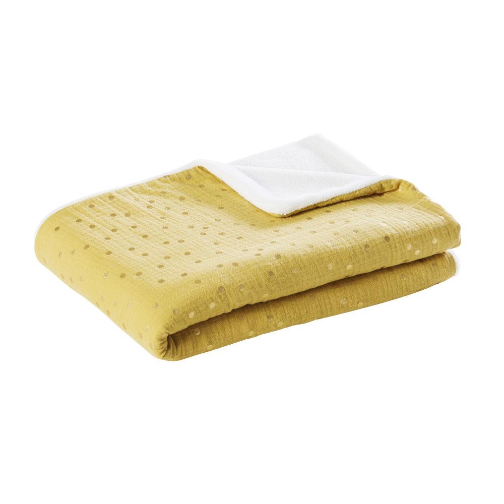 Babydecke aus Baumwolle, zweifarbig mit goldenen Puenktchen 75x100