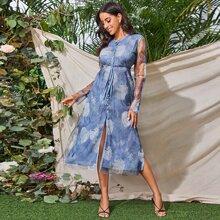 Kleid mit Blumen Muster, Netzstoff und Knoten vorn