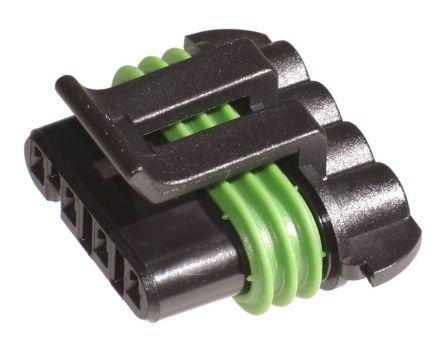 Delphi , Metri-Pack 150 Automotive Connector Socket 1 Row 4 Way, Crimp Termination, Black (20)