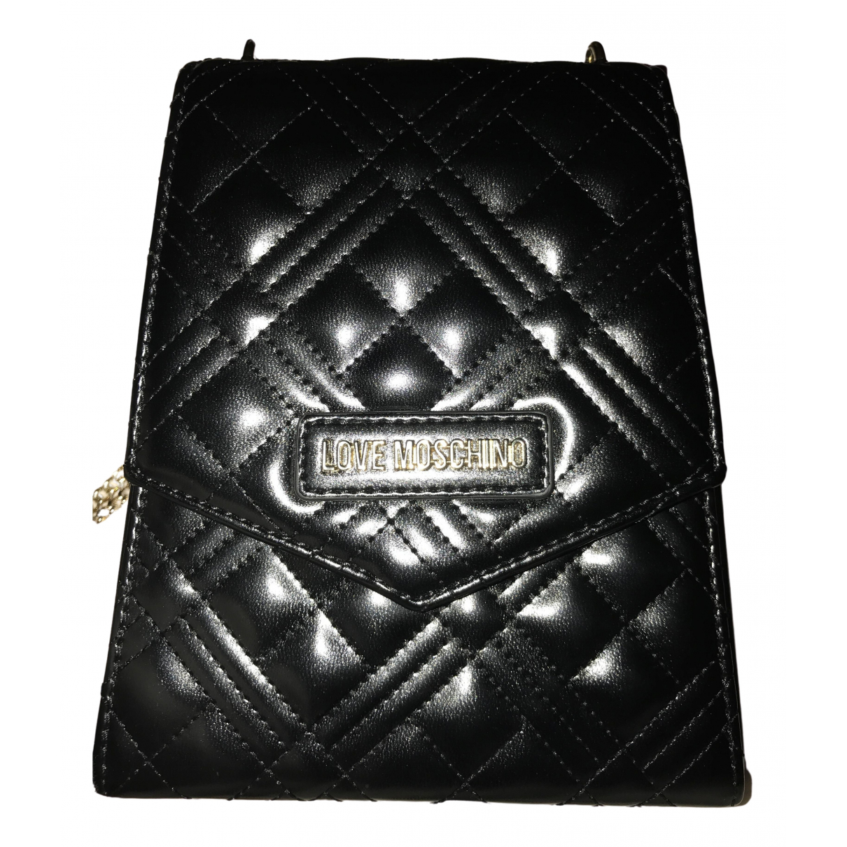 Moschino Love \N Handtasche in  Schwarz Leder