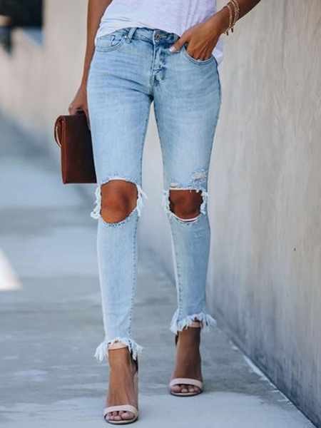 Milanoo Ripped Jeans Women Distressed Denim Pants