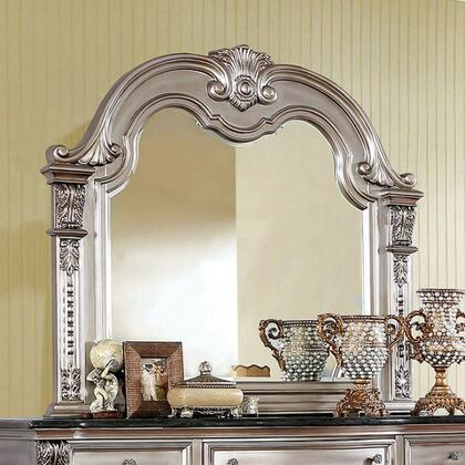 Fromberg CM7670CPN-M 51.25 x 49.5 Mirror with Molding Details  Carved Detailing and Wood Frame Construction in Champagne