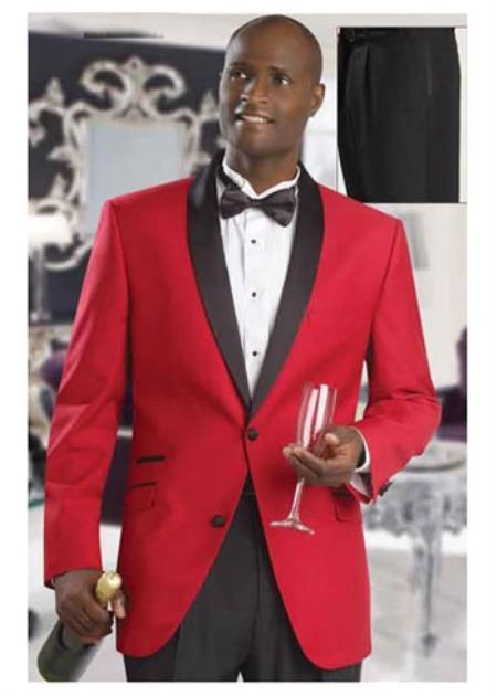 Mens Formal Attire Red Dinner Jacket Tuxedo Suit and Black Lapel