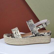 Double Band Slingback Snake Flatform Sandals