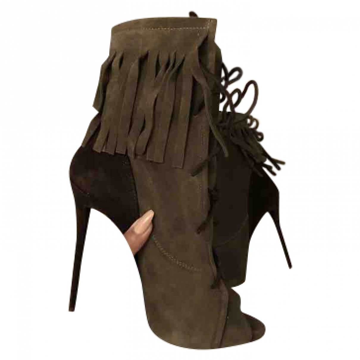Giuseppe Zanotti \N Khaki Suede Ankle boots for Women 8 UK
