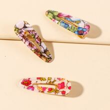 3 piezas horquilla de niñas con patron de flor