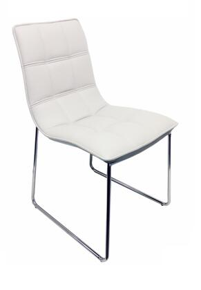 Leandro Collection CB-870WHITE Dining Chair with Mid High Backrest  Chrome Metal Sled Base  Modern Style and Eco-Leather Upholstery in White