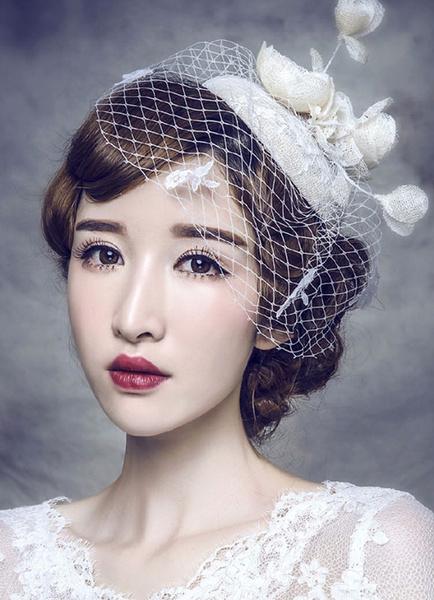 Milanoo Bridal Wedding Fascinator Hat Pearl Tiara Linen Headpieces Birdcage Veil( 28 Cm X 14 Cm)