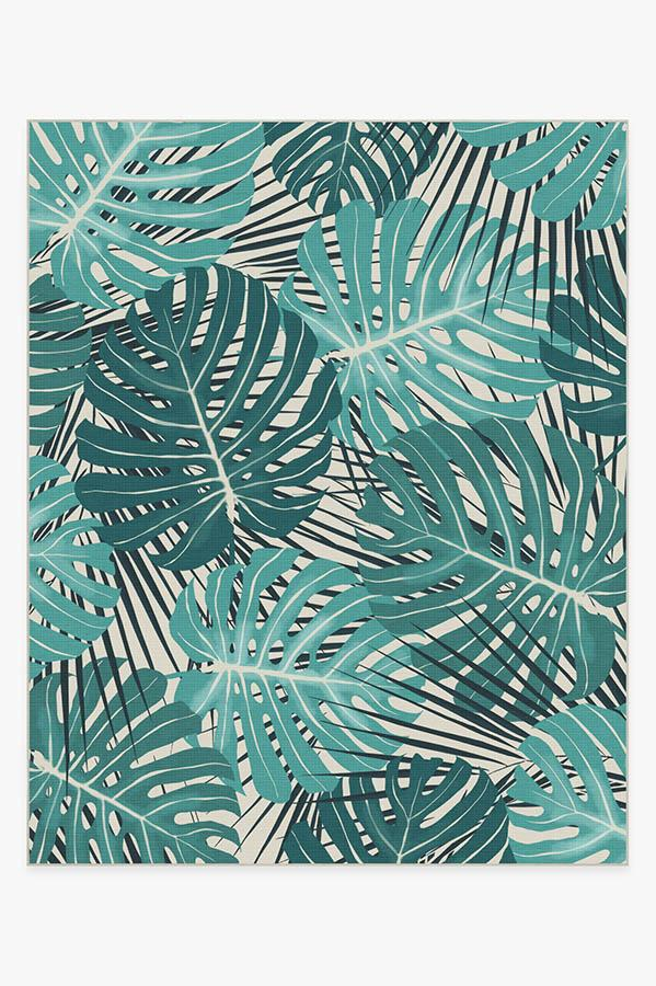 Washable Rug Cover | Monstera Teal Rug | Stain-Resistant | Ruggable | 8'x10'
