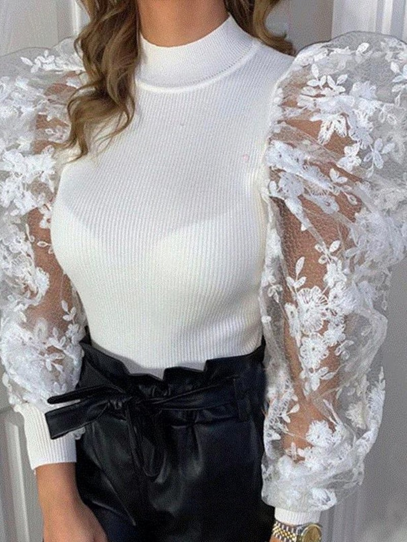 Ericdress Regular Lace Puff Sleeve Long Sleeve Round Neck Sweater