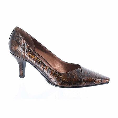 Easy Street Womens Chiffon Pumps Spike Heel, 11 Medium, Brown