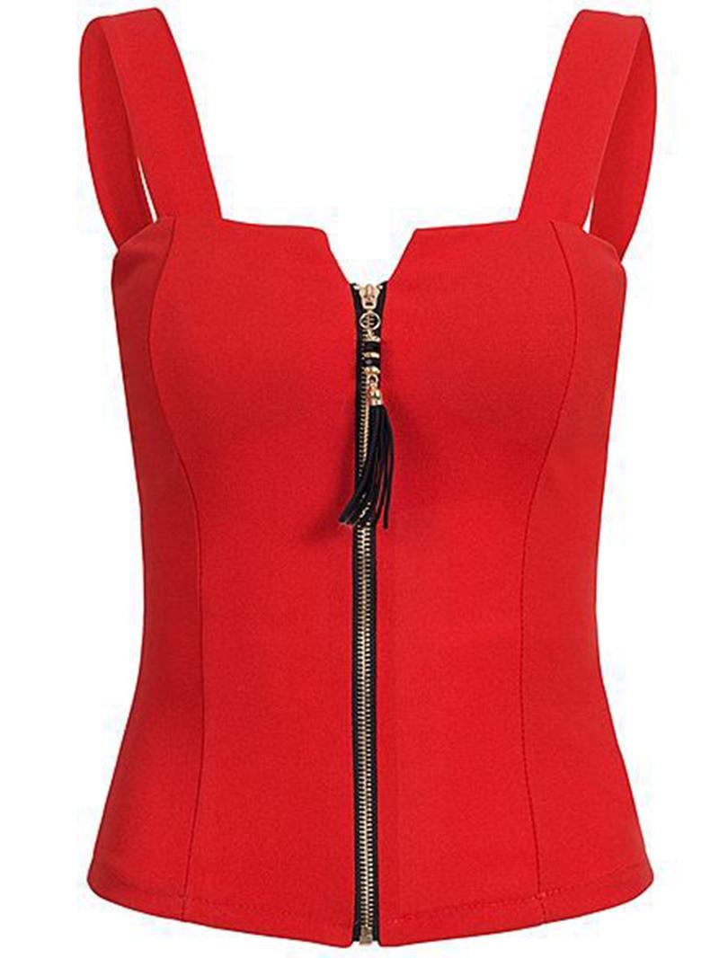 Ericdress I-Shaped Slim Zipper Womens Vest