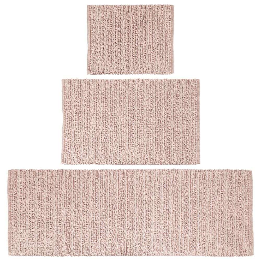 Cotton Spa Bath Mats with Braided Design - Set of in Light Pink, 17