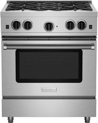 RCS30SBV2 30 Freestanding Gas Range with 4 Sealed Burners  Extra-Large Convection Oven  Infrared Broiler  Black Enameled Top  and Automatic