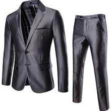 Einreihiger Blazer mit Reverskragen und Hose