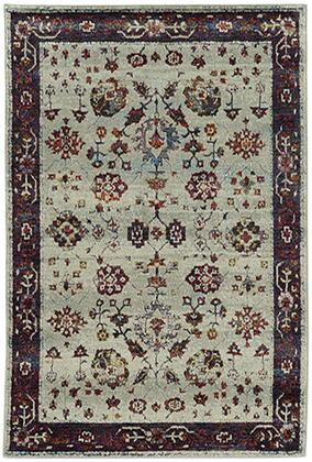 A6842D305400ST 10 0 X 13 2 Rectangle Rug with Oriental Pattern and Nylon/PolyPFiber