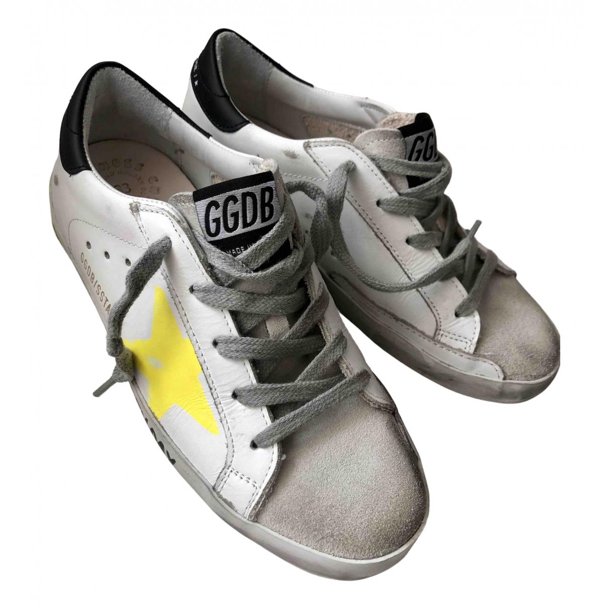 Golden Goose - Baskets Superstar pour enfant en cuir - blanc