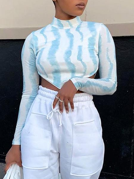 Milanoo Women\'s Sexy Top Jewel Neckline Long Sleeves Polyester Women\'s Top