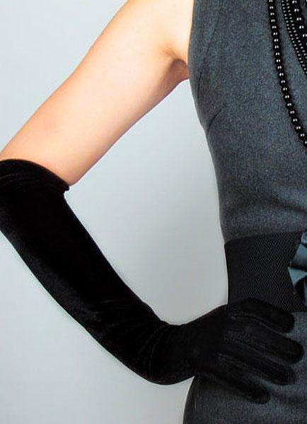 Milanoo Black Wedding Gloves Elegant Flannel Fingertips Long Bridal Gloves For Women