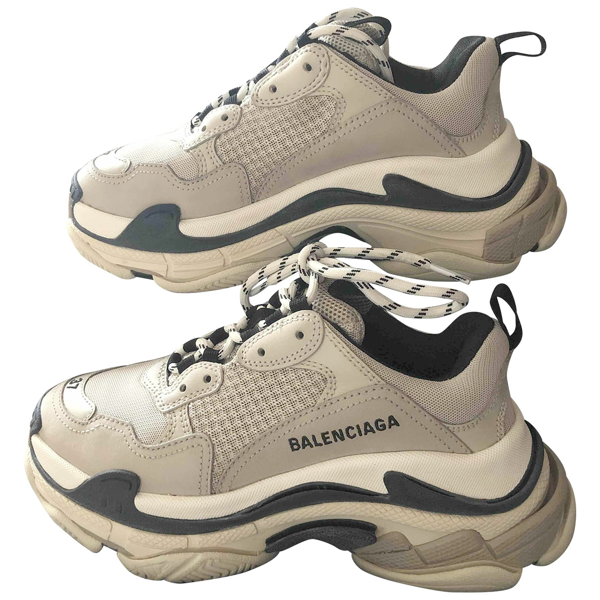 Balenciaga Triple S Beige Leather Trainers for Women 37 EU