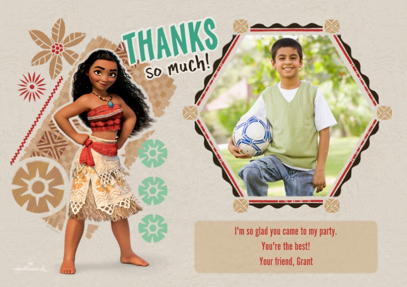 Kids Thank You Cards 5x7 Cards, Premium Cardstock 120lb with Elegant Corners, Card & Stationery -Thanks So Much - Moana