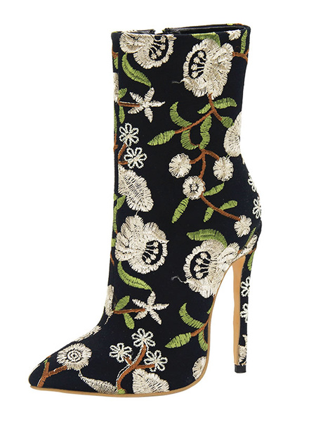 Milanoo Blue Ankle Boots Women Shoes Pointed Toe Floral Embroidered High Heel Booties