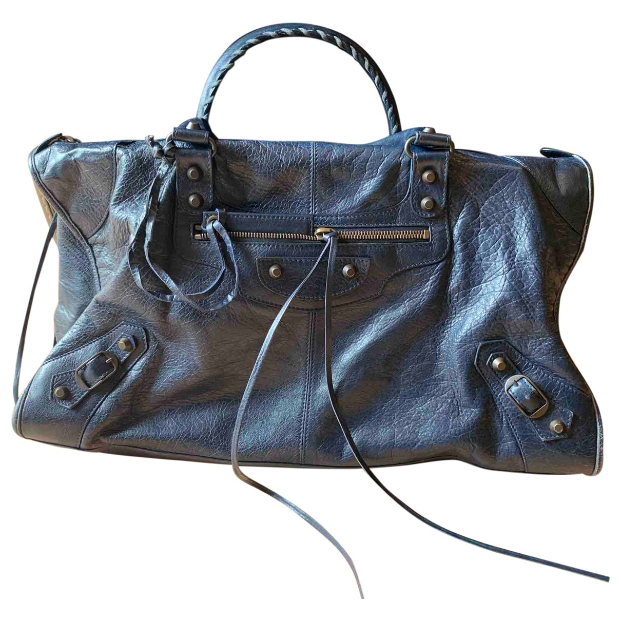 Balenciaga City Handtasche in  Blau Leder