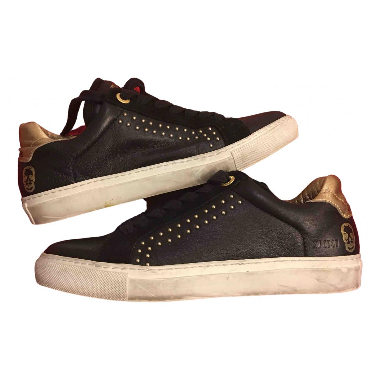 Zadig & Voltaire - Baskets   pour femme en cuir - noir