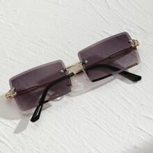 Maenner Randlose Sonnenbrille mit Nieten Dekor