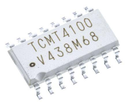 Vishay , TCMT4100 DC Input Transistor Output Quad Optocoupler, Surface Mount, 16-Pin Mini-Flat (2)