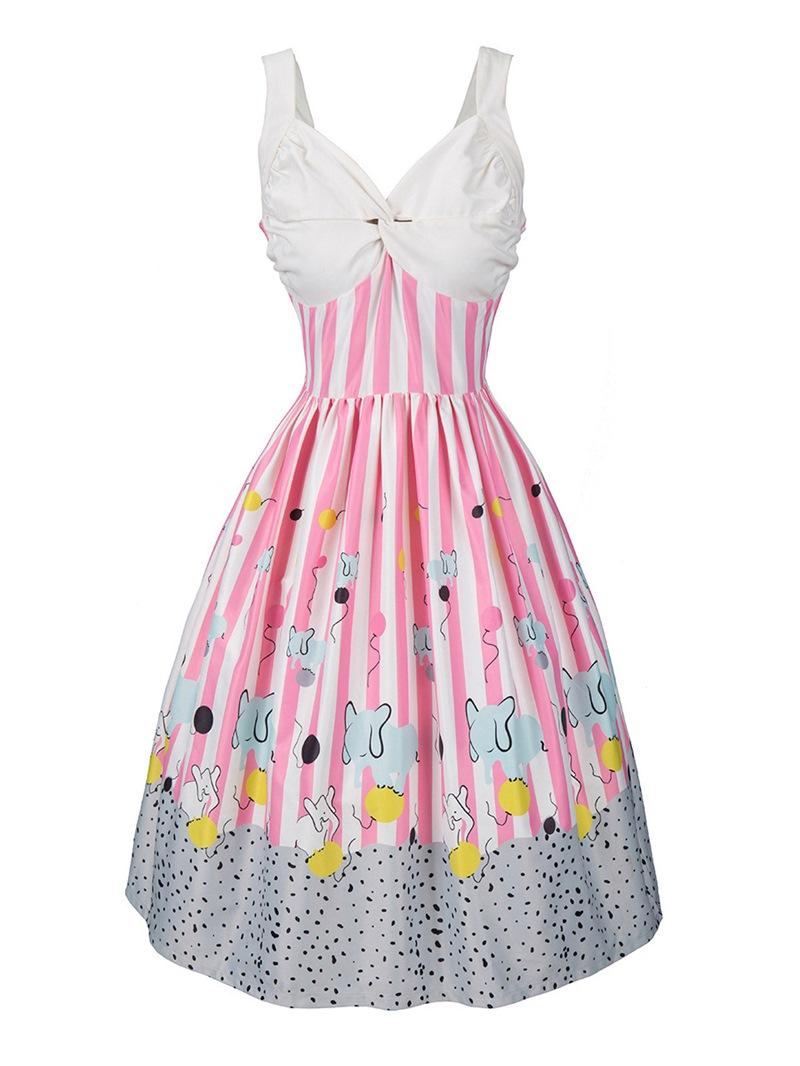 Ericdress Print Sleeveless Mid-Calf Mid Waist Expansion Dress