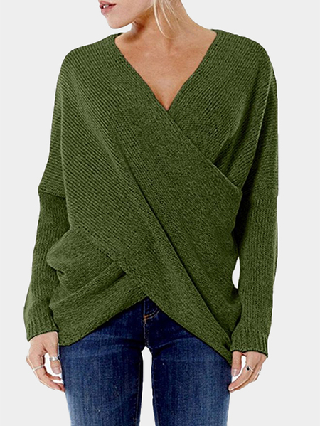 Yoins Green Cross Front V-neck Irregular Hem Jumper