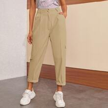 Side Pockets Button Fly Cargo Pants
