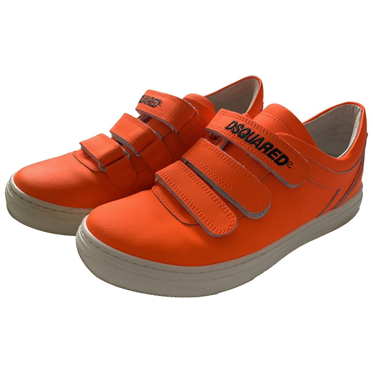 Dsquared2 N Orange Leather Trainers for Women 36 EU